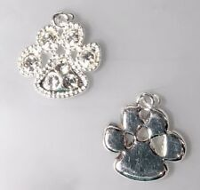 1 OR 6  Silver Plated Dog's Paw Charm with Clear Swarovski Crystals