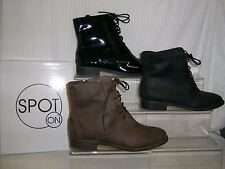 SALE Spot On ladies zip+lace ankle boot  'Brogue' Black Pat,PU OR Brown F5817
