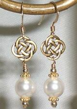 White Crystal Pearl Celtic 14K Gold Filled Earrings Made With Swarovski Elements