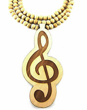 "Wooden High Clef Music Note Pendant Piece 36"" Chain Necklace All Good Wood Style"