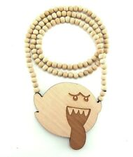 """Wooden Boo Ghost Pendant Piece 36"""" Chain Necklace All Good Wood Mario Bros Style"""