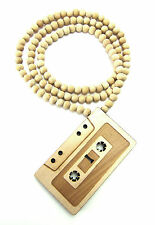 "Wooden Retro Casette Tape Pendant Piece 36"" Chain Necklace All Good Wood Style"