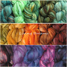 Color Sampler FELTING WOOL hand dyed Top Roving Craft Fiber NEEDLE SOAP WET SPIN