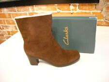 Clarks Dream Darling Brown Suede Fur Cuff Ankle Boots