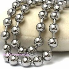 Mens Boy 6mm / 8mm / 10mm Silver Stainless Steel Beads Balls Chain Necklace Gift