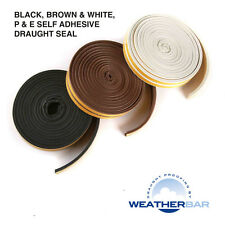 Weatherbar Draft/Draught Excluding Rubber Seal, P or E Shape, Self Adhesive, 15M