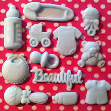 Edible BABY SHOWER CHRISTENING Ready Made Decorations Fondant Cupcakes Toppers