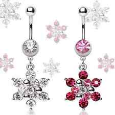 Surgical Steel Belly Bar / Navel Ring with CZ Gem Snowflake Dangle