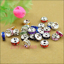 50Pcs Silver Plated Colored Crystal Spacer Beads 8mm,10Colors-1 Or Mixed R0162