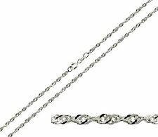 "STERLING SILVER 16 18 20 22 24 26 "" INCH SINGAPORE TWISTED CURB CHAIN NECKLACE"