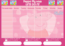 A4 PEPPA PIG REWARD CHART INC STICKERS & PEN OTHER DESIGNS AVAILABLE