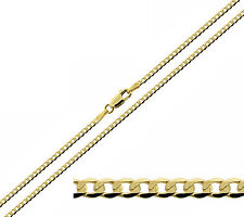 "375 9ct Solid Yellow Gold 16-24"" Inch Diamond Cut Flat 1.9mm Curb Chain Necklace"