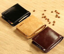 Luxury Mens Wallet Genuine Leather Black/Brown Boutique Trifold Zip Coins Purse