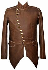 Mans 100% REAL LEATHER Brown Steampunk Jacket Military Tunic  All Sizes