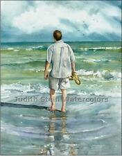 "BEACH MAN ""Seaside Stroll"" Watercolor Painting Art Print Giclee JUDITH STEIN"