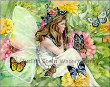 """FLOWER NYMPH FANTASY """"Fairy Thoughts"""" Watercolor Painting Art Print JUDITH STEIN"""