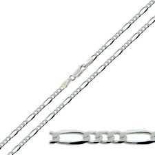 "925 Solid Sterling Silver  16 -30"" Inch 3.2mm Figaro Link Chain Necklace"