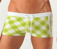 GERONIMO Fashion Swimwear Mens Green Boxer Trunks ,Swimming suit, Squares