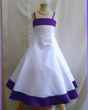 #1777 BRAND  NEW PROM  WHITE TURQUOISE BRIDESMAID FLOWER GIRL DRESS
