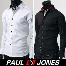 NEW CHEAP!Sexy Men's Muscle Dress Shirts Slim Fit Patched Casual Shirts S M L XL