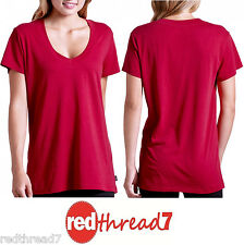 Bonds New Ladies Cotton V Short Sleeve Tshirt Top Long Red Size 10 12 14 16 18