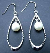 Big 50*17MM Helix shape Earring &8-10mm natural white pearl silver plated-ear304
