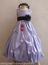 LILAC BLACK IVORY WHITE GOLD ORANGE PAGEANT FLOWER GIRL DRESS 2 4 6 8 10 12 14