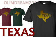 TEXAS TEXAN  IN GOLD STAR SYMBOL STATE OF TEXAS MAP T-SHIRT UNISEX TEE  NEW