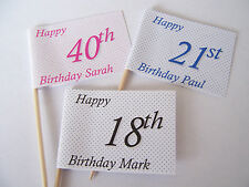 25 PERSONALISED BIRTHDAY CUPCAKE PICK FLAG TOPPER 18th 21st 30th 40th 50th 60th