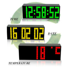 Digital Large Big Jumbo Led Snooze Wall Desk Alarm Calendar World Time Clock