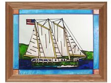 Nautical & Seashore 13.5x16.5 Hand Painted Stained Art Glass Window Suncatcher
