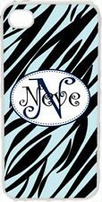 Curlz Monogrammed Baby Blue and Black Zebra Design on iPhone 4 4s Case Cover