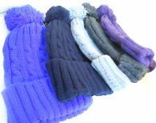MEN&WOMEN FOLD UP PLAIN COLOUR POM POM FASHION WOOLY CABLE ROPE KNIT BOBBLE HAT