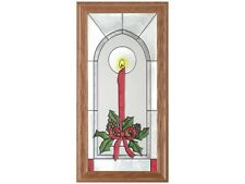 Christmas Holidays #2 11.5x22.5 Hand Painted Stained Art Glass Window Suncatcher