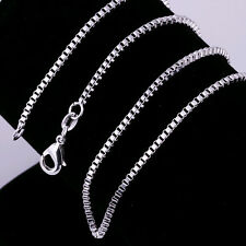 wholesale 1PCS sterling solid silver 2MM box chain necklace  DC13