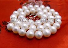 "SALE Big super luster 10-11mm natural Freshwater white pearl 17"" necklace-ne5433"