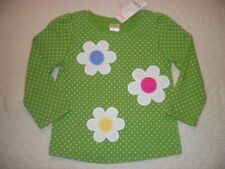 GYMBOREE SHOWERS OF FLOWERS GREEN DOT FLOWER TOP 18-24 2T 3T 4T 5T NWT