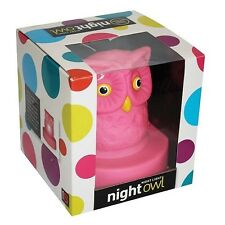 Wise Owl Hoot Night Light Blue Pink Nursery Kids Safe Gift Bedroom Soft Glow New