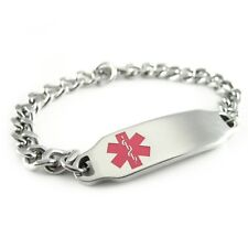 Childrens ID, Kids Medical Alert ID Bracelet, Curb Chain, Pink - i2C-BS1