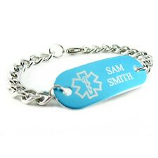Blue Aluminum Medical ID Bracelet Stainless Steel Chain Engraved ID Tag iA1C-BS1