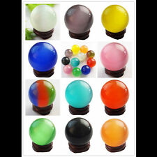 Wholesale Mixed Color Cat's Eye Crystal Ball Orb Sphere 35mm display+ stand