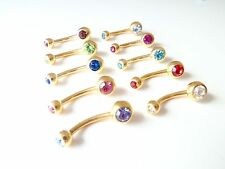 Gold Plated 2 Gem Navel Ring Belly Bar in Various Colours 1.6mm/10mm