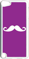 Plain Purple and White Mustache on iPod Touch 5th Gen 5G TPU Case Cover