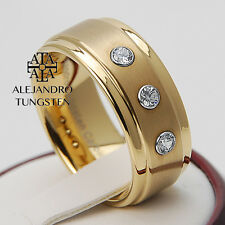 Alejandro Tungsten Carbide Ring Elegant 3 Diamond Wedding Band Gold 18K - TG001