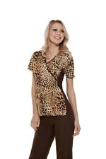 "Cherokee Mock Wrap Top with knit contrast & spandex style 2988 C ""JUNGLE QUEEN"""