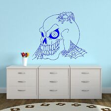 Spider Web and Spooky Skull Wall Sticker / Home Design Halloween Art / Mural R19