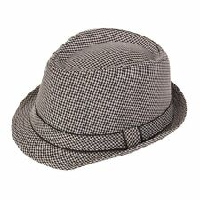 Adult Check Trilby Hat with black piping, 2 colours, 4 sizes FREE 1st class post