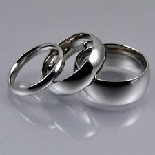 Mens Women Silver Stainless Steel Classic Traditional Wedding Band Ring 3,6,8mm