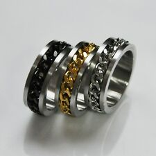 Classic Mens Silver Gold Curb Chain Center Stainless Steel Band Ring 8mm