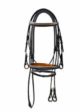 LEATHER HORSE BRIDLE PADDED IN BLACK/TAN WITH RUBBER GRIP REIN IN FULL,COB,PONY